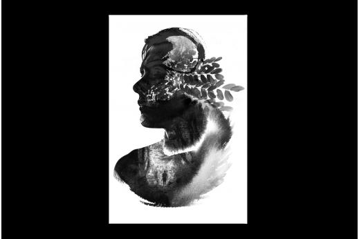 Картина  Портрет черной акварелью